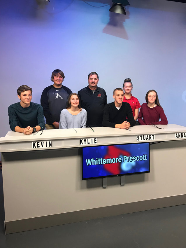 The Whittemore-Prescott Knowledge Bowl team poses for a photo at the CMU Quizbowl.