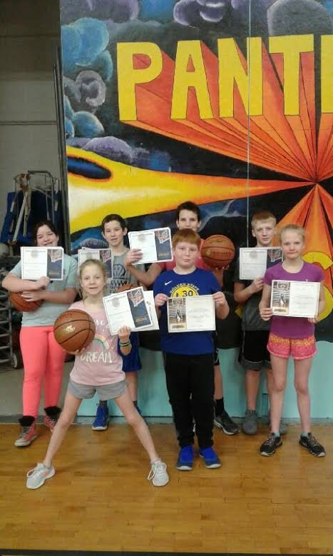 Kcfreethrows Participants in the 2018 Standish Knights of Columbus free-throw shooting contest pose for a photo with their certificates. Pictured in the front row are 10-year-old winner Paisley Vallad, Leo Osier and Paige Vallad. In the back row are 11-year-old winner Grace Adrian, 12-year-old winner Cody Bartlett, 11-year-old Zeke Adrian and 13-year-old winner Addison Vallad.