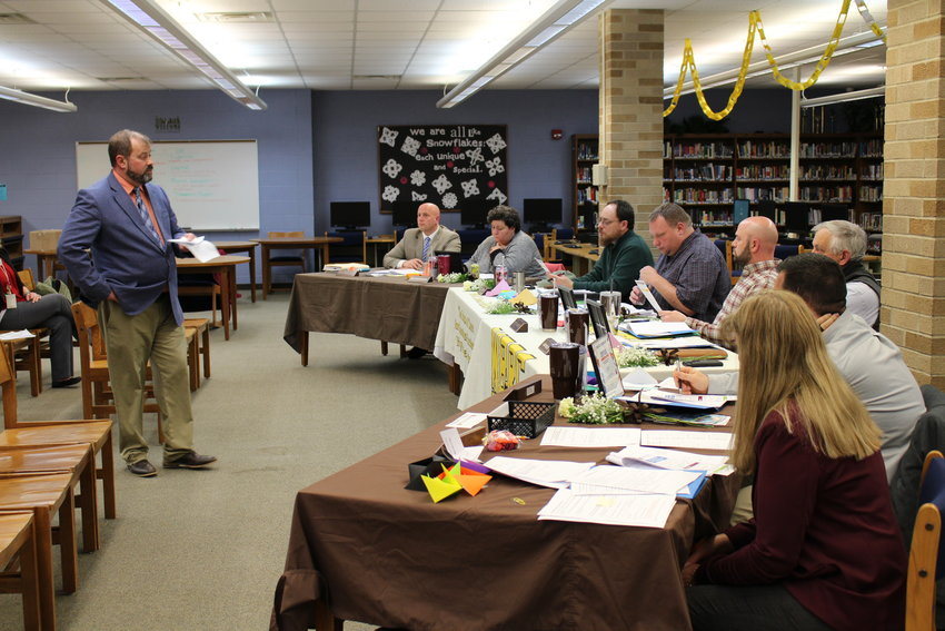 COOR ISD Superintendent Shawn Petri gives a presentation regarding upcoming ballot proposals during the Jan. 20 meeting of the West Branch-Rose City Board of Education