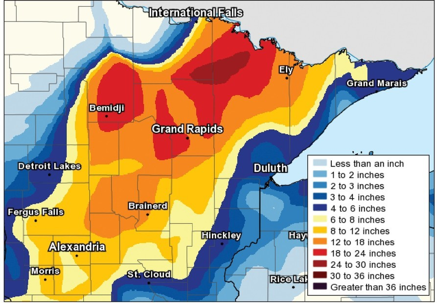 This National Weater Service snowfall map showed 24 to 30 inches of snow had fallen by  Saturday morning in a large area of the Iron Range north of Grand Rapids and west of Ely.
