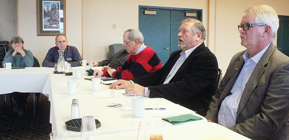 Participants in the Ely Economic Development Joint Powers Board legislative forum, including State Rep. Rob Ecklund, right, and State Sen Tom Bakk, spoke Monday at Grand Ely Lodge.