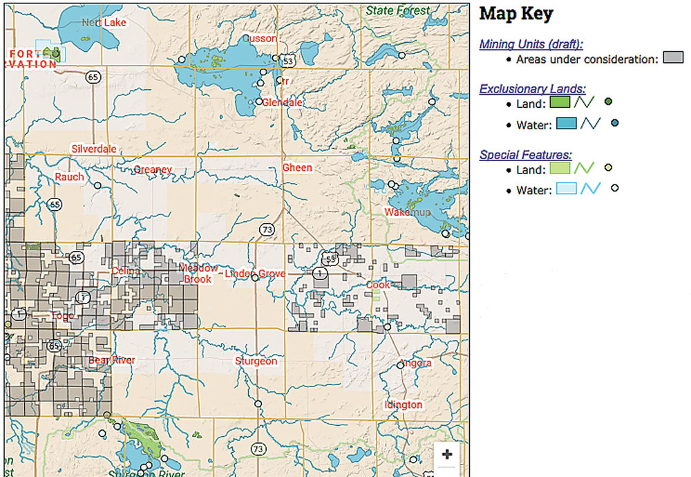 A map showing some of the parcels proposed for mineral leasing in western St. Louis and northeastern Itasca counties.