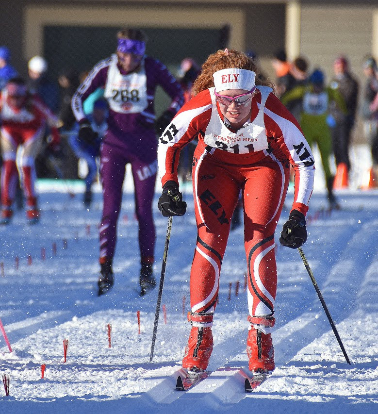 Ely junior Evelyn Bercher approaches the finish during Thursday's state meet. Bercher topped the No. 7 skier on each of the other 15 teams in the field.