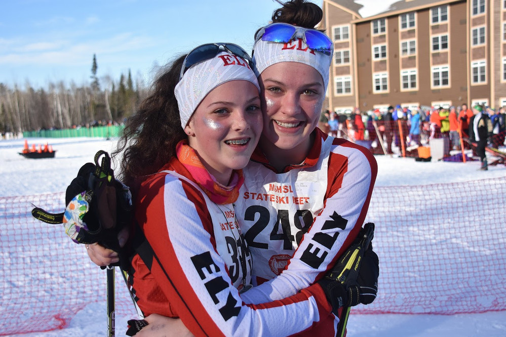 Ely freshman Brooke Pasmick, left, and junior Laura Pasmick played a key role in the Wolves' state title, with Laura passing 18 skiers and Brooke overtaking 36 skiers in the afternoon classic race.