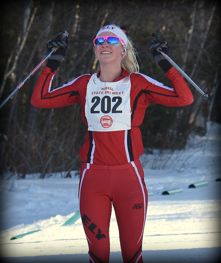 Ely senior Ely Bianco reacts after crossing the finish line in first place at Thursday's state Nordic meet,   winning the individual championship.