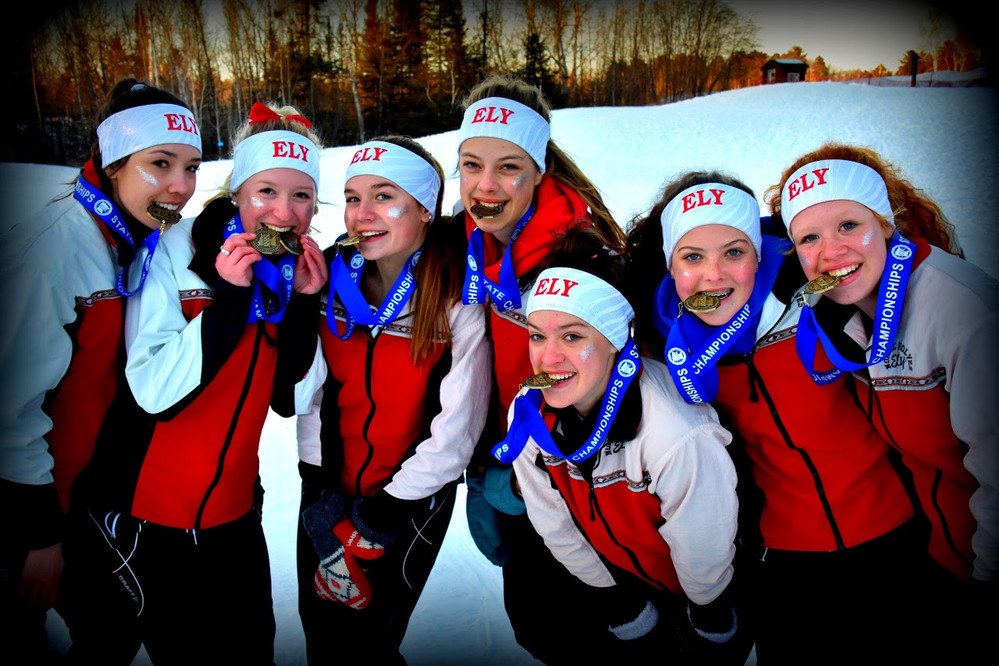 The Ely girls Nordic skiers won the first state championship in team history at Thursday's state meet at Giants Ridge in Biwabik, dominating, and stunning, the 16-team field after entering the day ranked third.