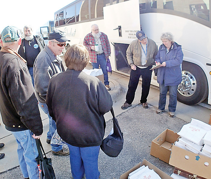 Ely supporters of the proposed Twin Metals mine enjoyed bus rides and bag lunches as they traveled to the Duluth hearing.
