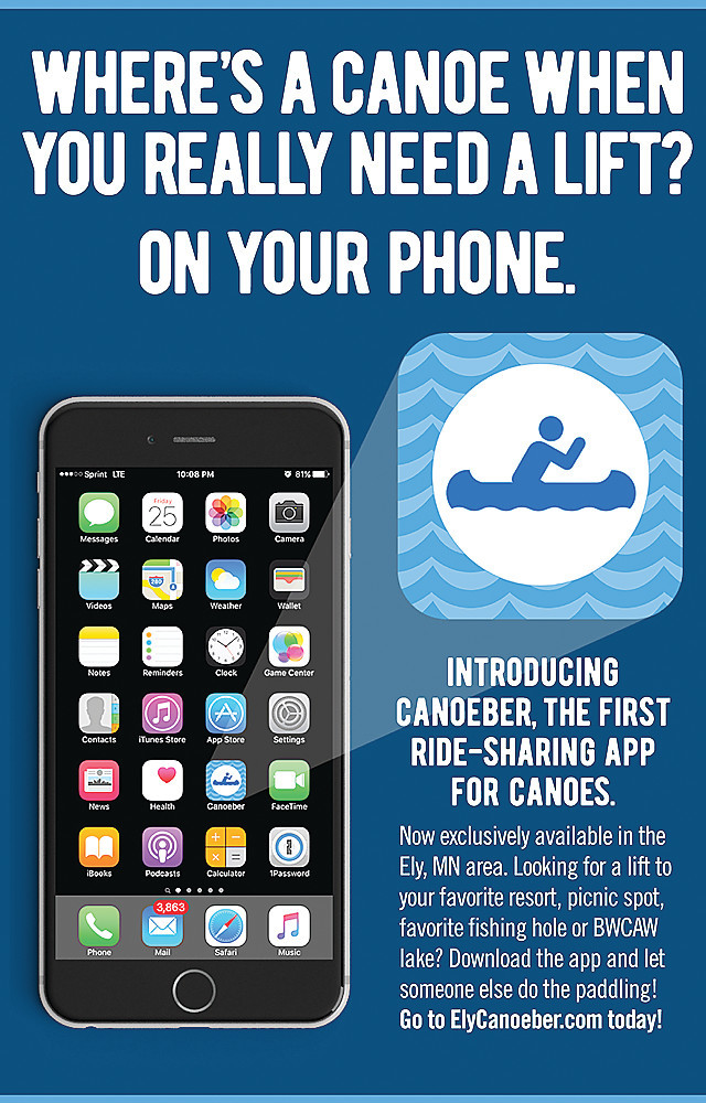 A postcard promoting the new ride-sharing app developed for use in the Ely area. The new app debuted on April 1.