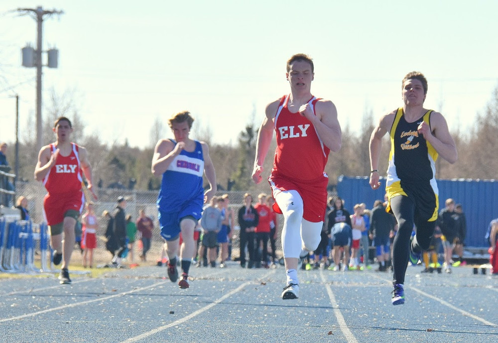 Ely senior Josh Heiman quickly pulls away from the field as he captures first place in the 100-meter dash at the Wolves' season-opening meet in Chisholm. Heiman earned a trio of first-place finishes in Ely's first two meets in the 100, long jump and triple jump.