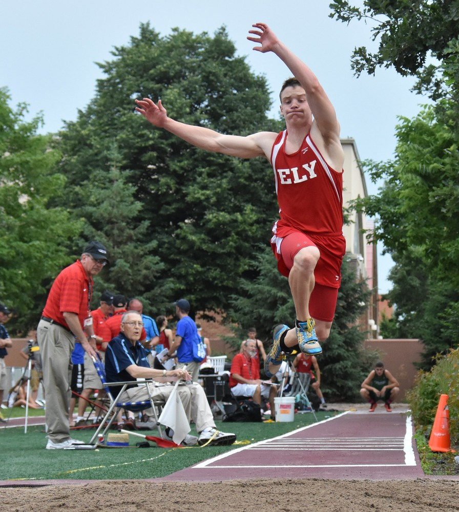 Ely's Josh Heiman jumping at state a year ago. Heiman has returned to competition after missing the winter due to a broken ankle, earning a spot in Friday's Hamline Elite Meet in the triple jump.