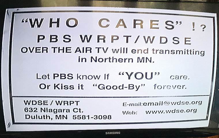 This notice on Channel 8 tells viewers in rural parts of northwestern St. Louis County that PBS over-the-air broadcasts will end without support from WDSE.