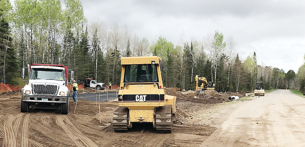 Contractors were busy this week constructing the pulloff that will house an information kiosk and vault toilets along the access road to Lake Vermilion Soudan Underground Mine State Park. Work on the project should be completed by the end of June and will clear the way for opening of the park's new campground.