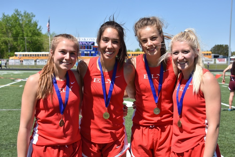 The Ely 4x800-meter relay team of Ryne Prigge, Caroline Homer, Emma Terwilliger and Erin Bianco qualified for state by virtue of winning Thursday's Section 7A race in 9:54.11.