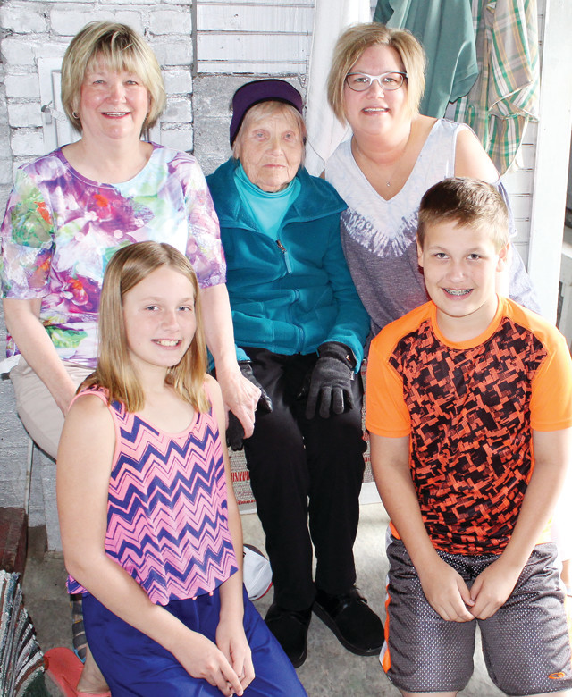 Dorothy Nelimark Bruno with her daughter Dianna Barkley, granddaughter Diane Robinson, and great-grandchildren Braden and Adalyn.