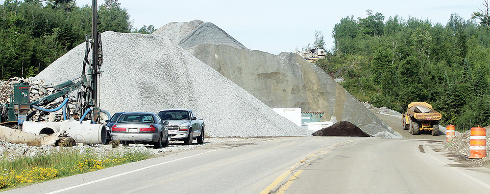 About 1,800 tons of limestone are piled along the Highway 169 road reconstruction corridor between Tower and Ely. As of last week, the $16 million project is almost   30 percent complete, according to officials.