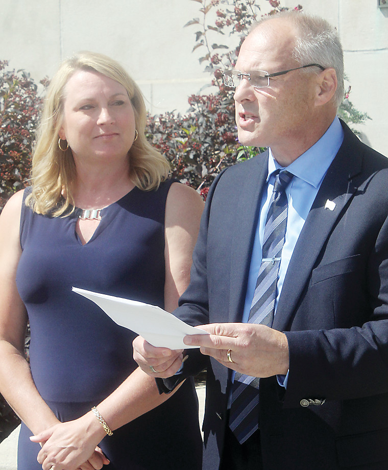 St. Louis County Commissioner Pete Stauber and his wife Jodi were in Ely on Monday to announce that he will seek the GOP endorsement for the Eighth District congressional seat.