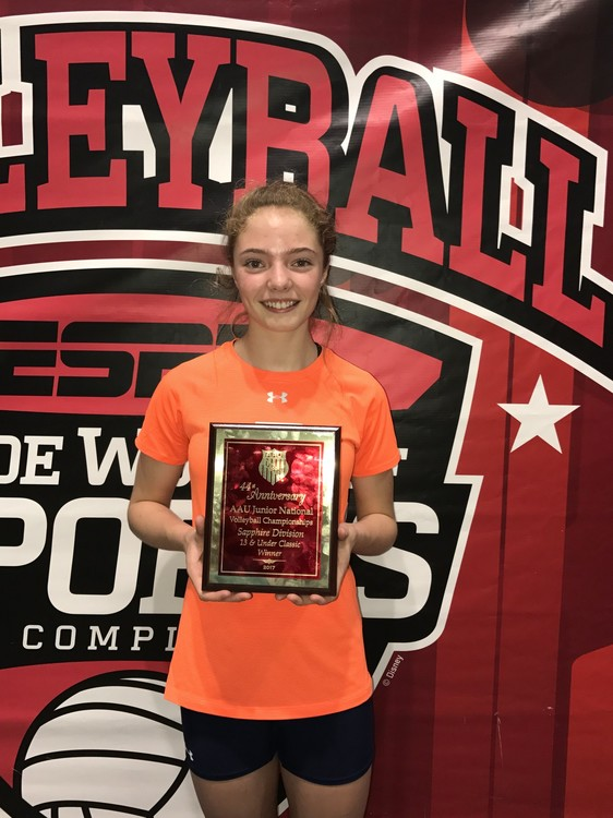 Hannah Reichensperger played on the MN North 13-1 team and was named as one of the Champions of the Sapphire Division at the AAU National Tournament.