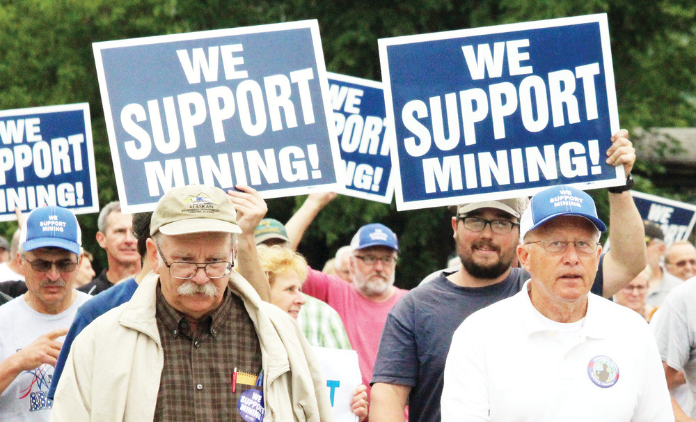 Advocates for sulfide mining near the BWCArallied Tuesday night before marching to a hearing at Virginia High School to weigh in on the scoping process for a two-year federal study on the risks and rewards of the Twin Metals project near Ely.