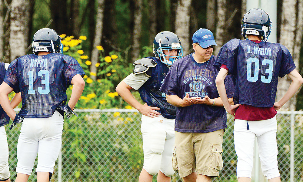 North Woods Head Coach John Jirik works with players during a recent practice session.
