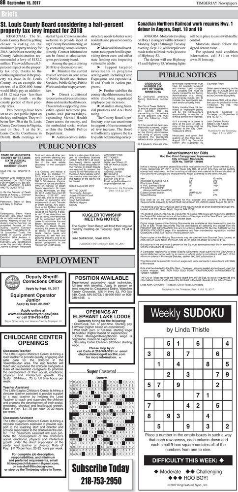 Click here for the legal notices and classifieds on page 8B