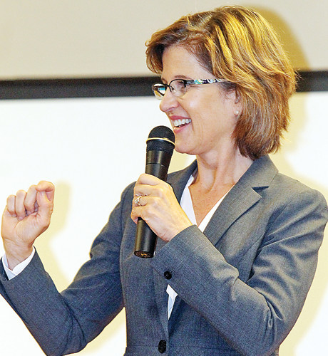 Rebecca Otto spoke this summer to the Tuesday Group in Ely