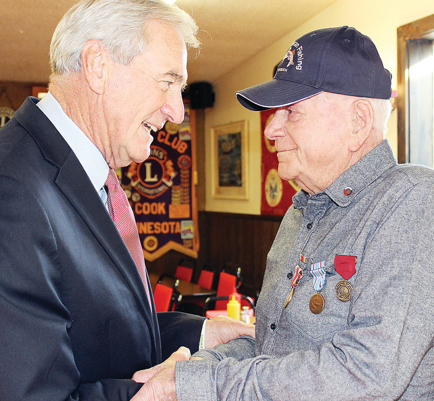 Leo Hively, a 96-year-old Cook resident, was presented with World War II service medals last week by U.S. Rep. Rick Nolan. The surprise event was held at the Bloom and Lahti VFW Post 1757 in Cook.
