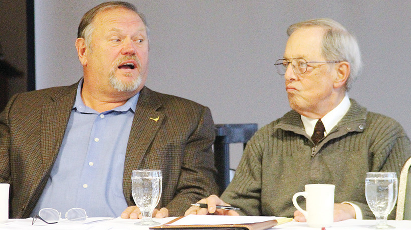 Ely Mayor Chuck Novak reacts Monday to being told by State Sen. Tom Bakk that the city's continuing bonding request for their 17th Avenue reconstruction project will  likely never be approved.
