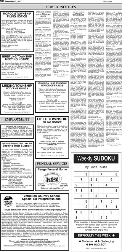 Click here to see the legal notices and classifieds from page 10B