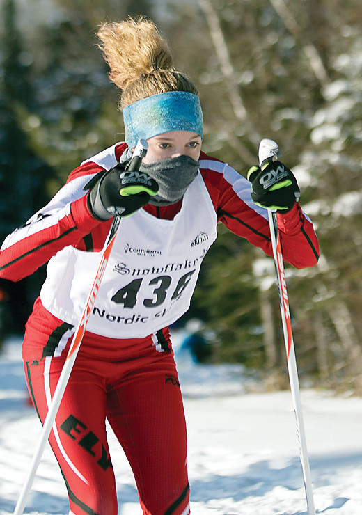 Gracie Pointer shows determination as she makes her way along the Two Harbors course.