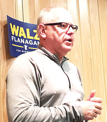 U.S. Rep. Tim Walz spoke in Cook Tuesday night on a campaign swing to northern Minnesota.