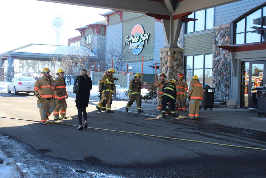 Firefighters prepared to enter the hotel late Wednesday afternoon.