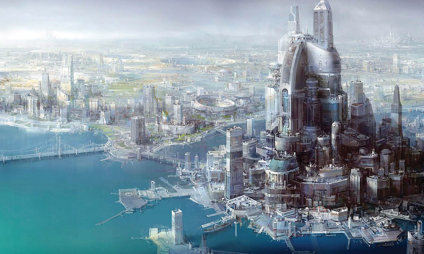 An artist's conception of the vast new city of Neom, currently slated for construction in Saudi Arabia beginning in 2025. The city is being planned as a new global technological center that would be operated   primarily by artificial intelligence.