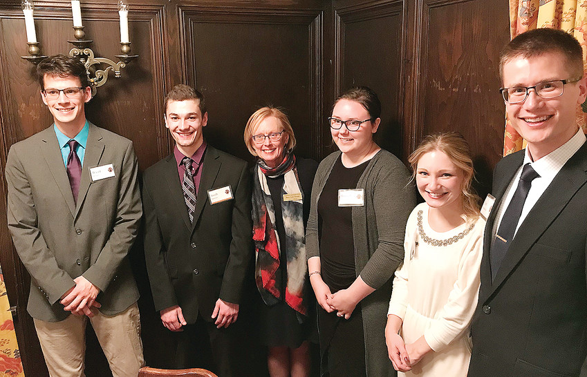 A few of the recipients of an Alworth scholarship attended the recent award banquet held at the Kitchi Gammi Club in Duluth. Pictured are (l-r) Wyatt Miller, Jacob Sawyer, Alworth Fund Executive Director Patty Salo Downs, Hannah Martilla, KeKe Sirjord, and Tyler Grunenwald.