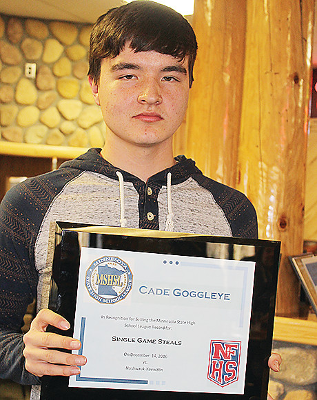 Cade Goggleye with his state record plaque, presented last week.
