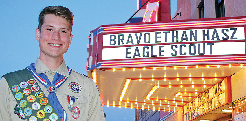 Ethan Hasz had his name up in lights at the State Theater to   congratulate him on reaching the rank of Eagle Scout.