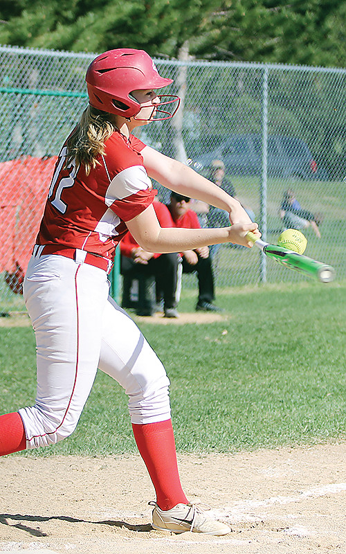 Jenna Merhar rips a hit during Tuesday's playoff game with MI-B.