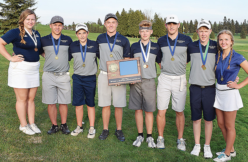 Members of the North Woods boys and girls golf teams headed to the state tournament. Pictured are (l-r) Kylie Parson, Blake Scofield, Davis Kleppe, Tate Olson, Sam Frazee, Chase Kleppe, Ian Olson, and Nicole Olson