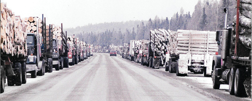 Logging trucks stretched as far as the eye could see during a loggers' rally in Orr in support of Tony Vukelich.