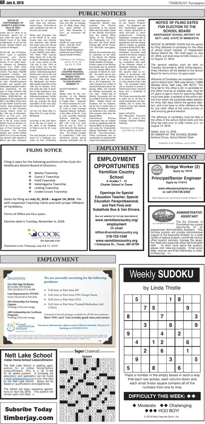 Click here for the legal notices and classifieds form page 6B