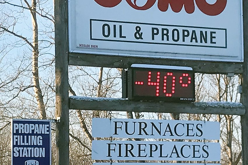 A time and temperature sign at the Como Oil and Propane office in Vermilion Lake Township reflected the chilly start to the morning on Thursday, Jan. 31.
