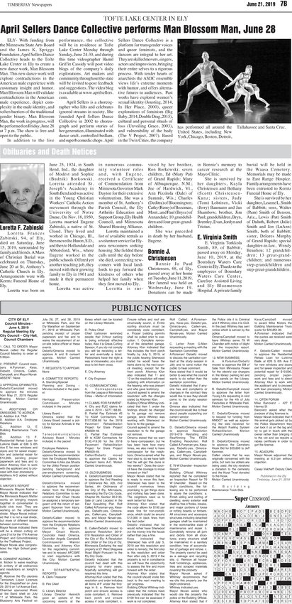 Click here for the legal notices and classifieds from page B7