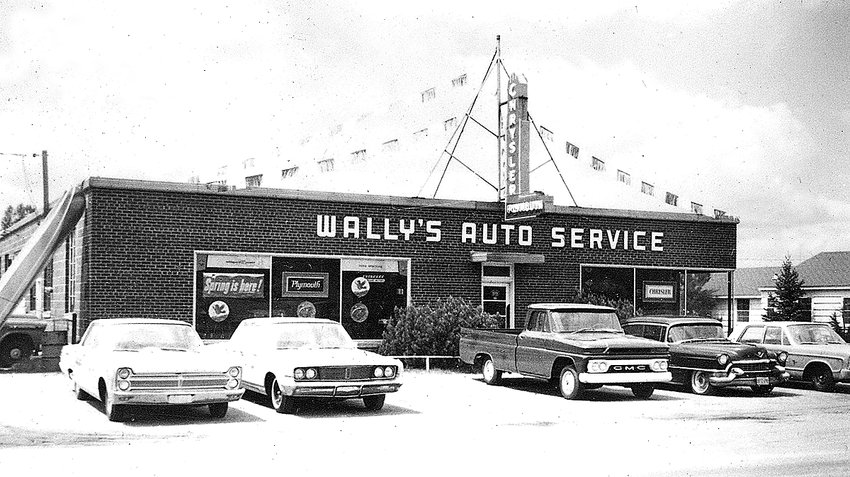 Wally's Auto Service as it look in 1965. Wally Zick began his business as an auto repair business, but expanded to auto sales following a fire that burned his original shop.