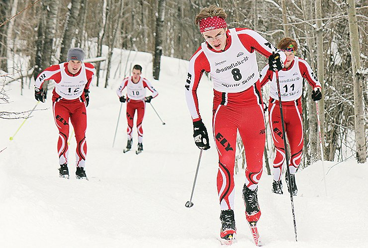 Ely boys work their way up a hill during competition at the Duluth Invite this past Saturday. Pictured are (l-r) Raif Olson, Gabriel Pointer, Jon Hakala, and Ethan Bremner.