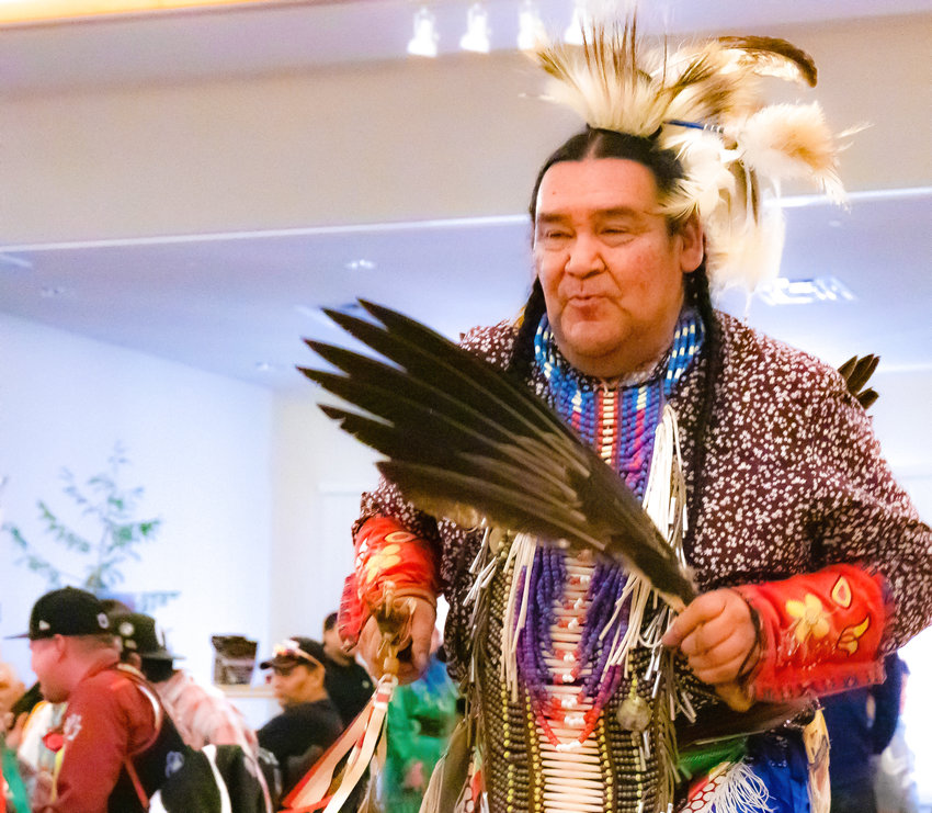 Art Skead performs a traditional dance at the Bois Forte Midwinter Pow Wow Sunday at Nett Lake. Skead came from near Dryden, Ontario, for the two-day event.