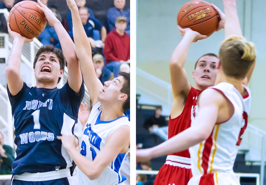 North Woods' Darius Goggleye, left, and Ely's Eric Omerza shoot contested jumpers in Saturday wins.