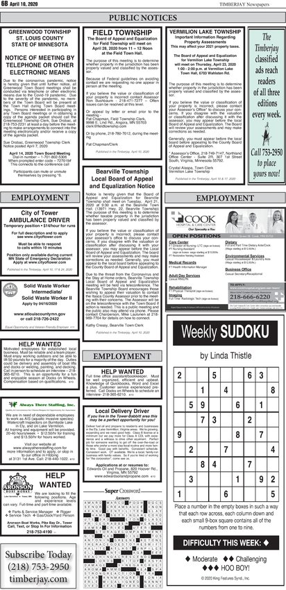 Click here to download this week's legal notices and classifieds form page 6B