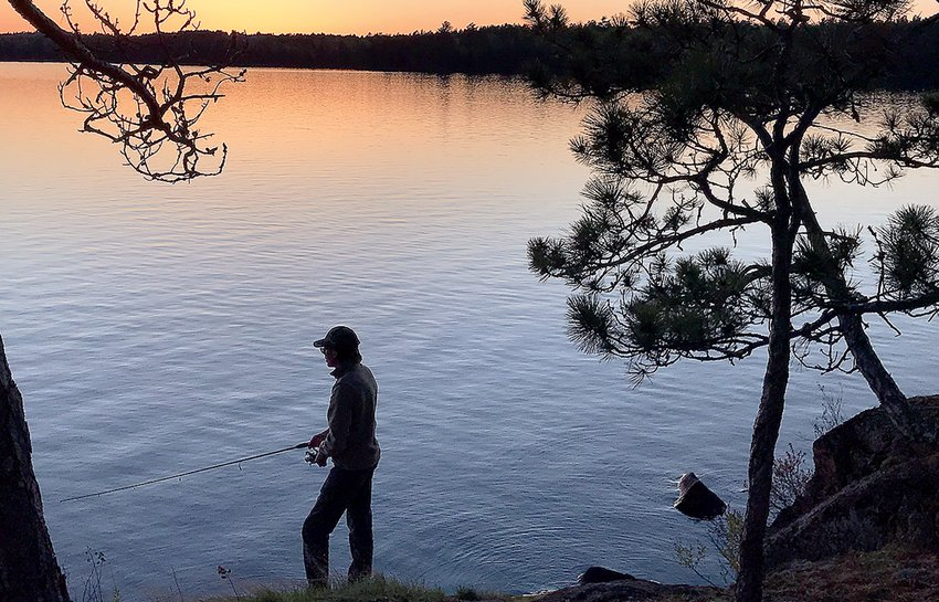 Shore fishing around sunset is always a good bet in the North Country during opening weekend.