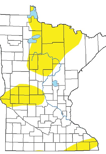 "Areas in yellow indicate portions of the state now listed as ""abnormally dry"" by the U.S. Drought Monitor."
