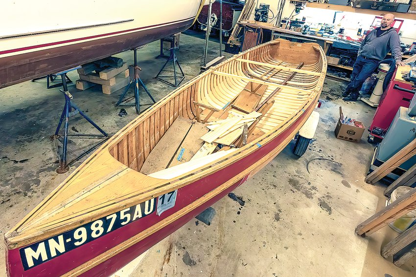 Jeff Larson takes a brief break from working on the Rehbein at the Sunrise River Boatworks in Tower.