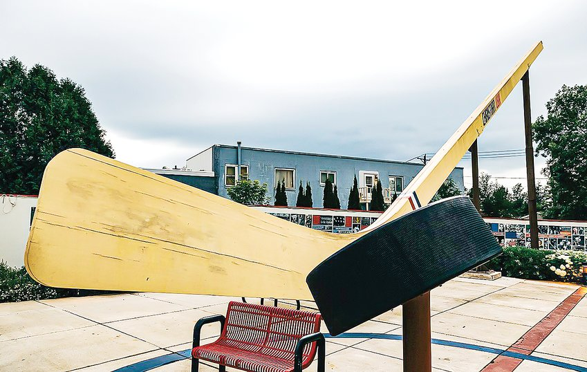 The World's Largest Hockey Stick at Monroe Street and Grant Avenue in Eveleth, Minnesota.